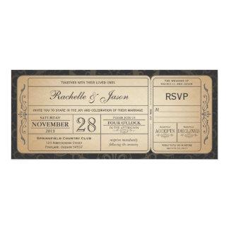 Invitación del boleto del boda del vintage con invitación 10,1 x 23,5 cm
