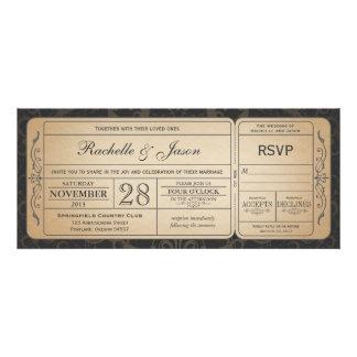 Invitación del boleto del boda del vintage con RSV