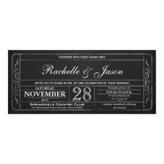Invitación del boleto del boda del vintage de la