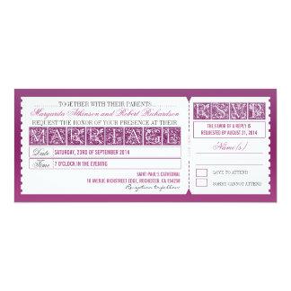 invitación del boleto del boda y diseño antiguos