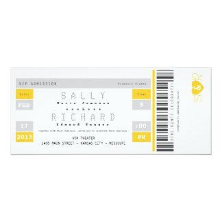 Invitación del boleto del concierto en amarillo de