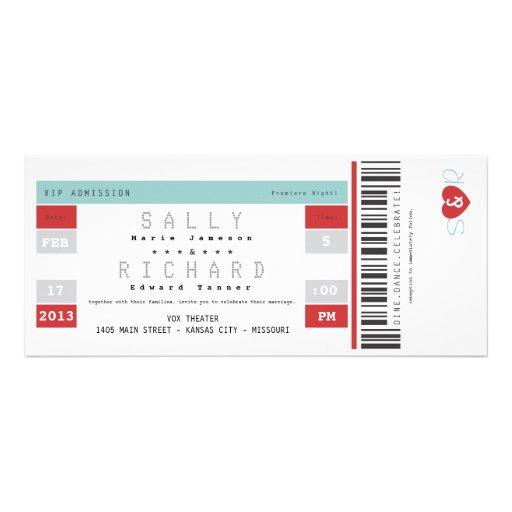 Invitación del boleto del concierto en rojo y agua
