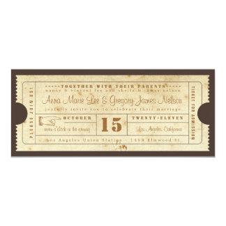 Invitación del boleto del vintage invitación 10,1 x 23,5 cm