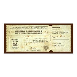 invitación del boleto del vintage del boda con