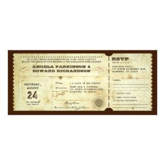 invitación del boleto del vintage del boda con dis