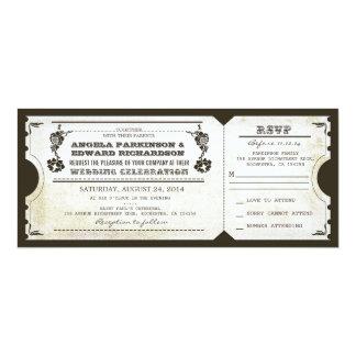 invitación del boleto del vintage del boda con el