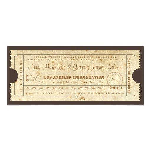 Invitación del boleto del vintage - tarjeta de sac