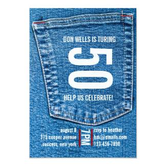 Invitación del bolsillo del dril de algodón invitación 12,7 x 17,8 cm