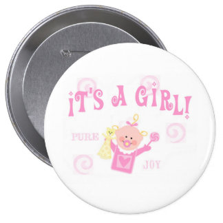 Invitación del botón del bebé del chica pin redondo de 4 pulgadas