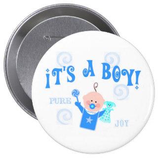 Invitación del botón del bebé del muchacho pin redondo de 4 pulgadas
