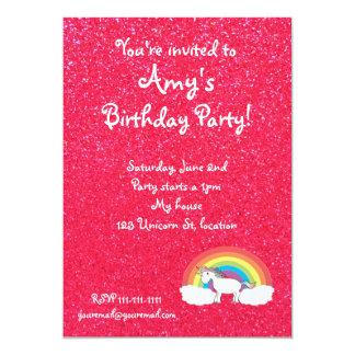 Invitación del brillo del rosa del unicornio del invitación 12,7 x 17,8 cm