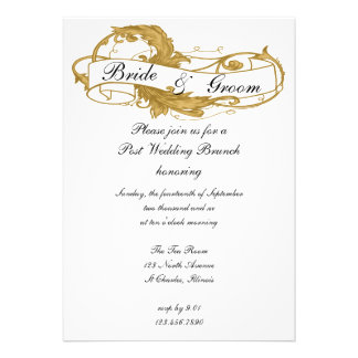 Invitación del brunch del boda del poste de la hoj