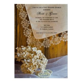 Invitación del brunch del boda del poste del cordó