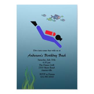 Invitación del buceo de profundidad invitación 12,7 x 17,8 cm