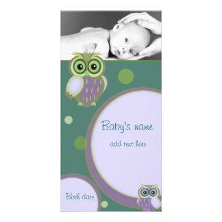 Invitación del búho del bebé tarjeta fotografica personalizada