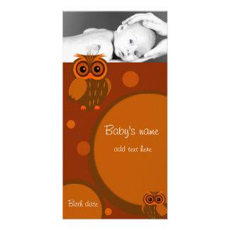 Invitación del búho del bebé tarjeta fotográfica