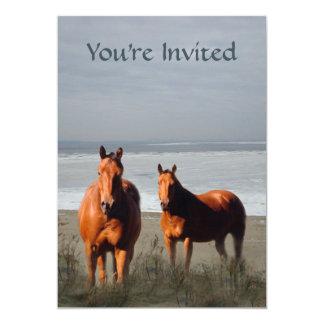 Invitación del caballo de la playa invitación 12,7 x 17,8 cm