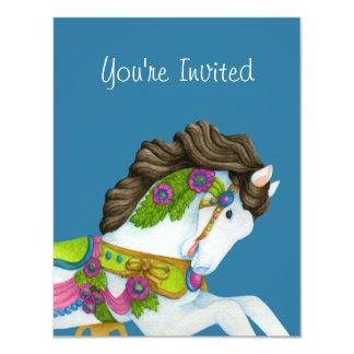 Invitación del caballo del carrusel de Gayle Invitación 10,8 X 13,9 Cm