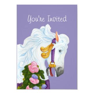 Invitación del caballo del carrusel de Najira Invitación 12,7 X 17,8 Cm