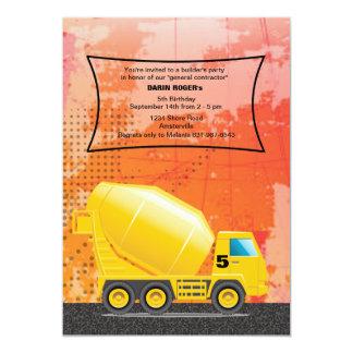 Invitación del camión del cemento de la