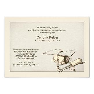 Invitación del casquillo y del diploma de la invitación 12,7 x 17,8 cm