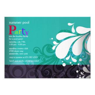 Invitación del chapoteo de la piscina