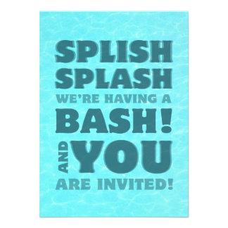 Invitación del chapoteo de Splish de la fiesta en