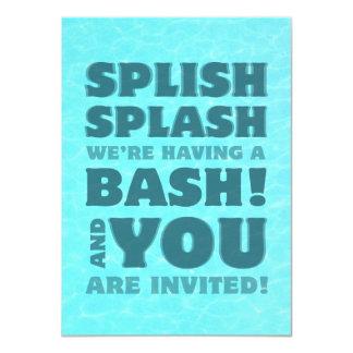 Invitación del chapoteo de Splish de la fiesta en Invitación 11,4 X 15,8 Cm