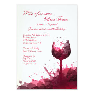 Invitación del chapoteo del vino