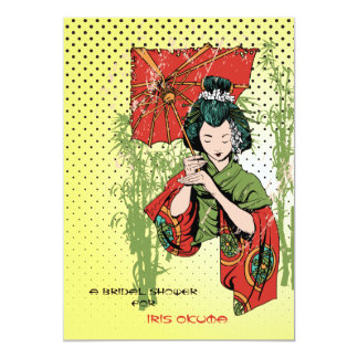 Invitación del chica de geisha invitación 12,7 x 17,8 cm
