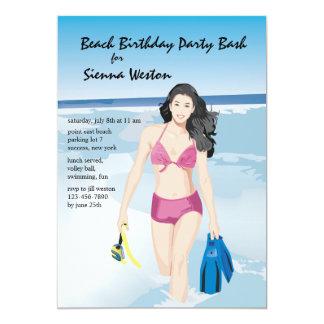 Invitación del chica de Snorkeler Invitación 12,7 X 17,8 Cm