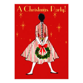 Invitación del chica del navidad del vintage 50s