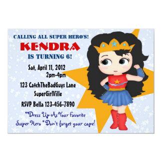 Invitación del chica del super héroe