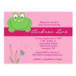 Invitación del chica del verde del rosa de la rana tarjetas postales