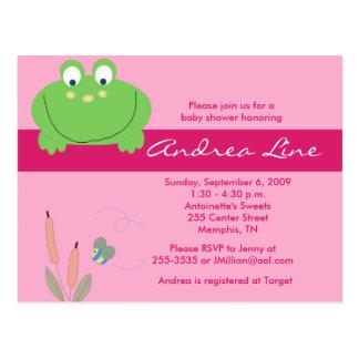 Invitación del chica del verde del rosa de la rana postal