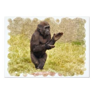 Invitación del chimpancé que aplaude invitación 12,7 x 17,8 cm