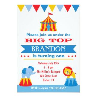 Invitación del circo del top grande invitación 12,7 x 17,8 cm