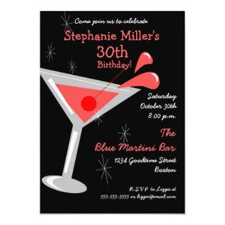 Invitación del cóctel de Martini del cumpleaños Invitación 12,7 X 17,8 Cm