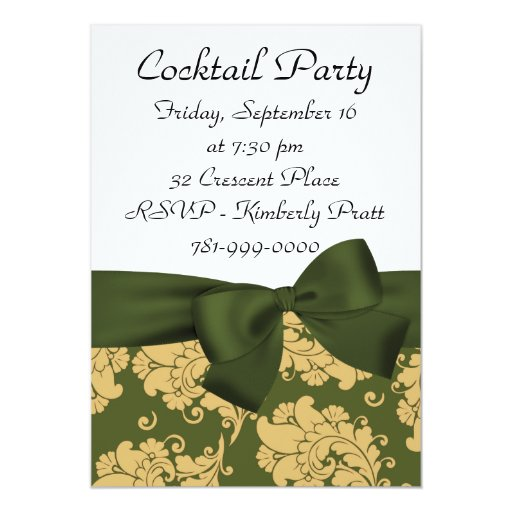 Invitación del cóctel del damasco del verde verde