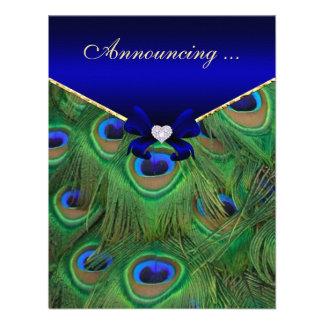 Invitación del compromiso del pavo real del azul r