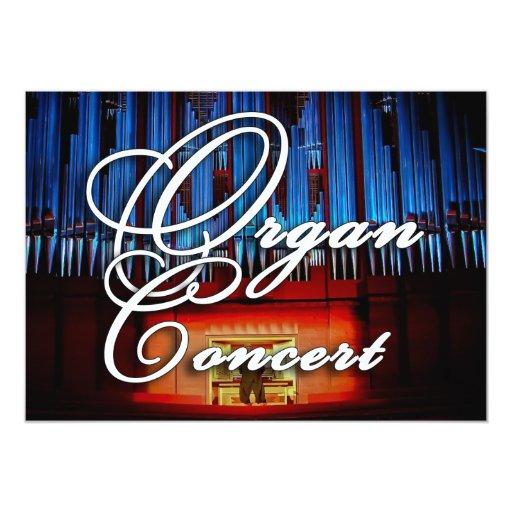 Invitación del concierto del órgano - paisaje azul