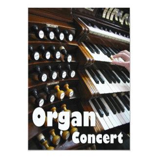 Invitación del concierto del órgano - teclados invitación 12,7 x 17,8 cm