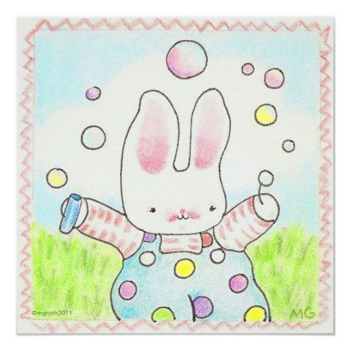 invitación del conejito de la burbuja invitación 13,3 cm x 13,3cm