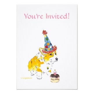 Invitación del Corgi de la fiesta de cumpleaños
