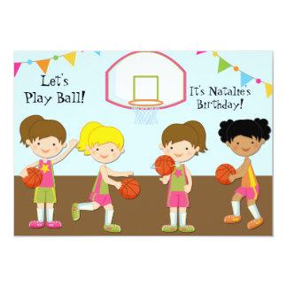 Invitación del cumpleaños 5x7 del baloncesto de