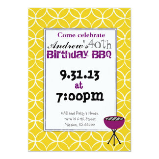 Invitación del cumpleaños - Bbq del cumpleaños