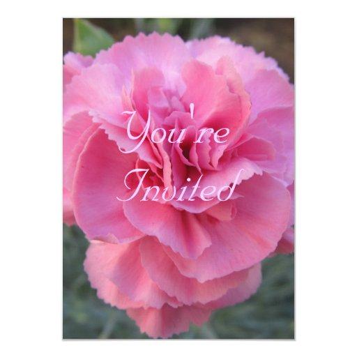 Invitación del cumpleaños-- Clavel rosado