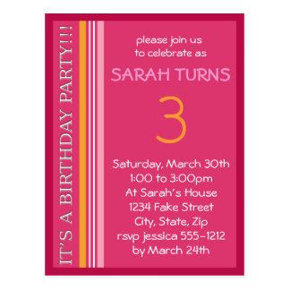 Invitación del cumpleaños con las rayas tarjetas postales