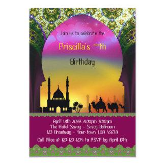 Invitación del cumpleaños cualquier edad, árabe,