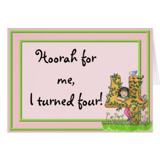invitación del cumpleaños de 4 años tarjeta de felicitación